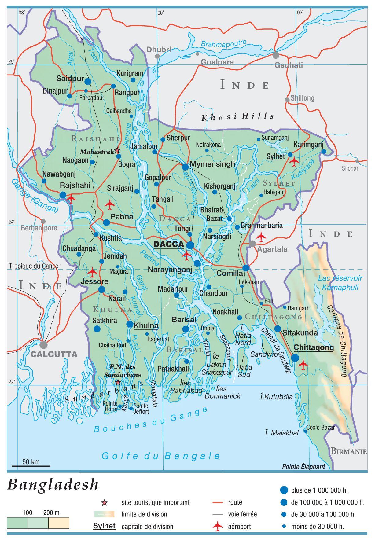 carte du bangladesh relief altitude villes