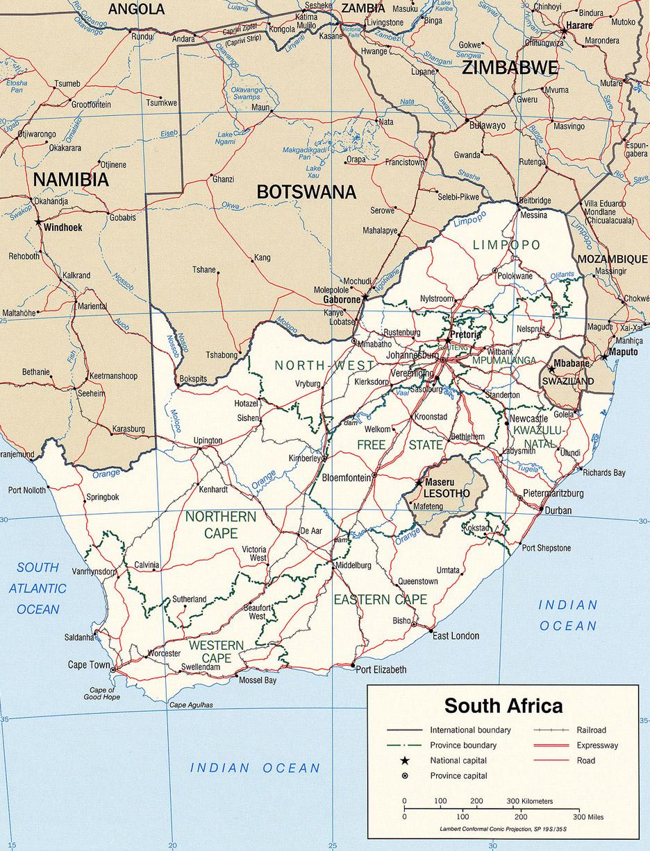 Carte politique de l'Afrique du Sud