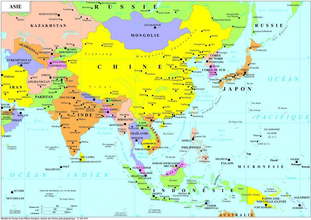 carte d asie