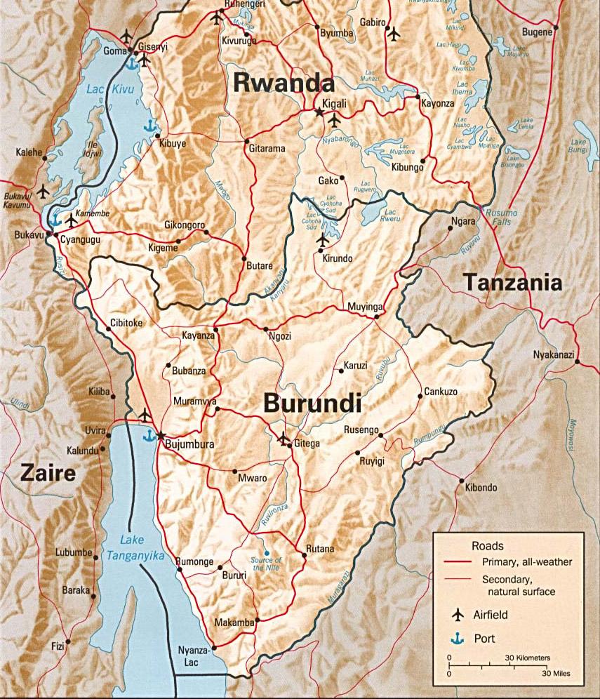 Carte en relief du Burundi