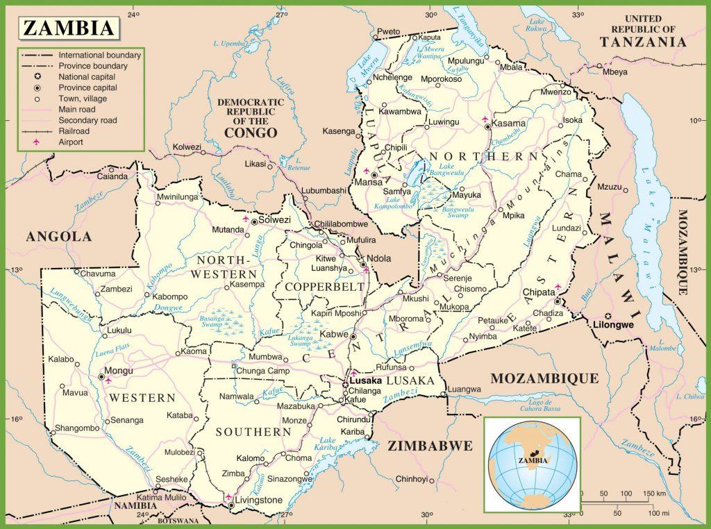 Zambie carte – Crédit Nations Online