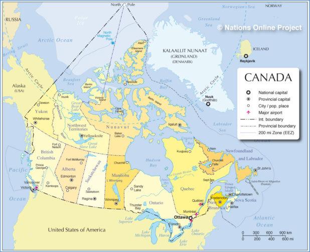 Carte des régions du Canada