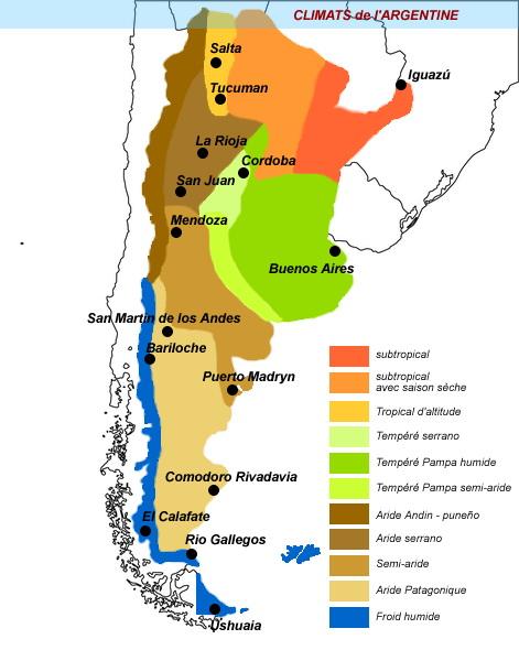 Carte climatique Argentine