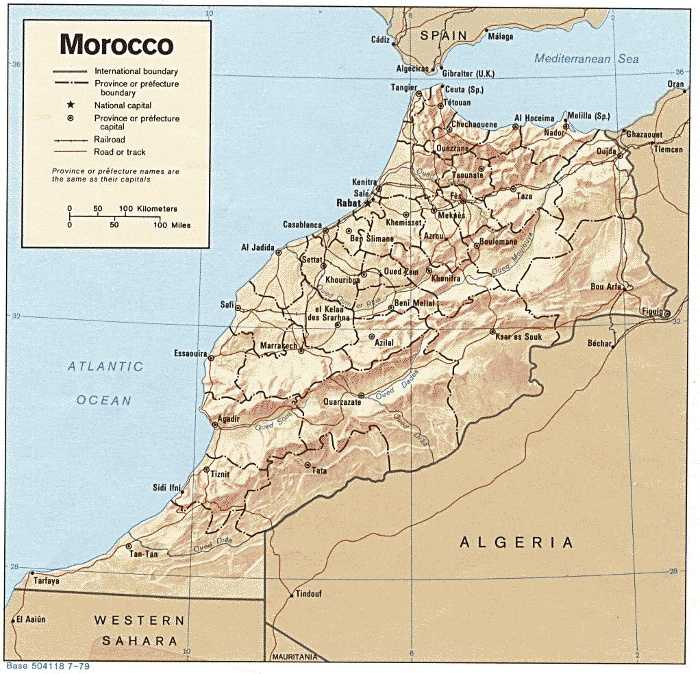 Carte Maroc relief